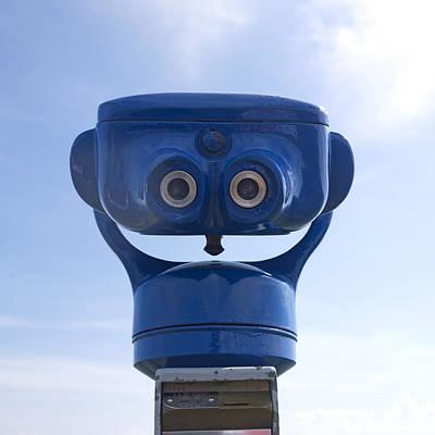 Coins Photograph - Blue Coin-operated Binoculars by Bernard Jaubert