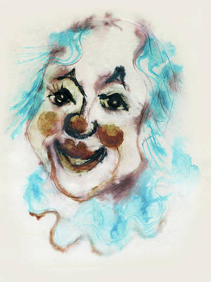 Blue Collar Clown Face With Red Nose And Lips Raised Eyebrows Smile   Art Print by Rachel Hershkovitz