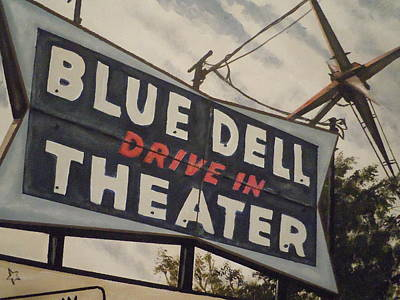 Art Print featuring the painting Blue Dell Drive In Theater by James Guentner