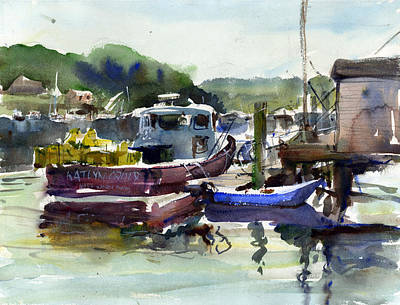 Lobster Boat Maine Painting - Blue Dinghy by Gordon France