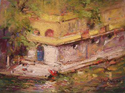 Portofino Italy Painting - Blue Door To The Water by R W Goetting