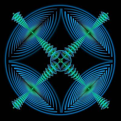 Digital Art - Blue Elliptic Mandala by Rick Chapman