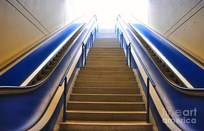Blue Escalators Art Print