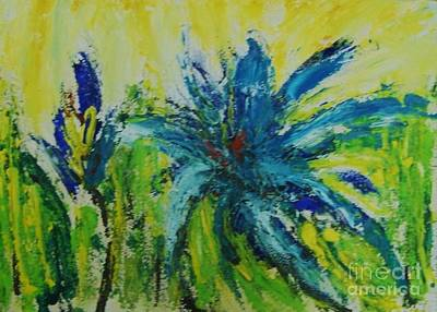 Wall Art - Painting - Blue Explosion by Judy Parins