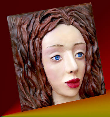 Modeling Clay Painting - Blue-eyed Girl by Yelena Rubin