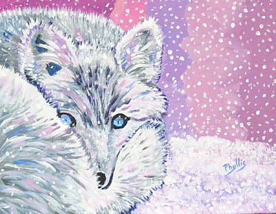 Painting - Blue Eyed Snow Fox by Phyllis Kaltenbach