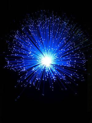 Y120831 Photograph - Blue Fiber Optic Light Effect by Lumina Imaging