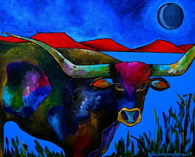 Longhorn Pasture Painting - Blue Field by Patti Schermerhorn
