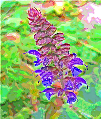 Impressionist Style Photograph - Blue Flower Cone by Padre Art