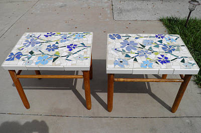 Mixed Media - Blue Flower Mosaic Tables by Lou Ann Bagnall