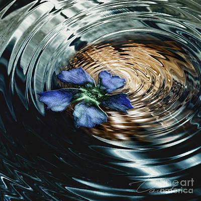 Blue Flower Swirl Print by Danuta Bennett