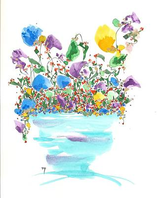 Drawing - Blue Flowers And Vase by Darlene Flood