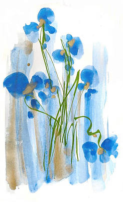 Drawing - Blue Flowers by Darlene Flood
