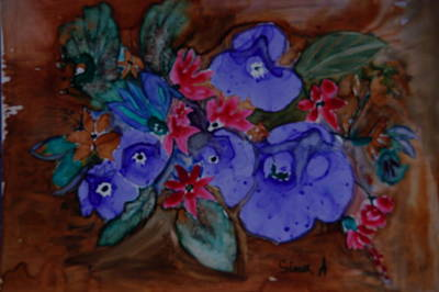 Painting - Blue Flowers by Sima Amid Wewetzer
