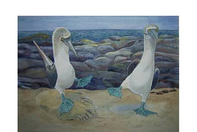 Boobies Painting - Blue Footed Booby's Mating Dance by Carmen Durden