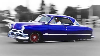 Blue Ford Customline Art Print by Phil 'motography' Clark