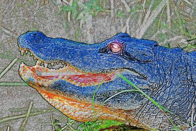 Blue Gator Art Print