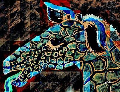 Drawing - Blue Giraffe by Susan Kubes