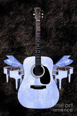 Blue Guitar Butterfly Art Print by Andee Design