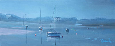 Blue Bouys Painting - Blue Harbour by Nadine Gould