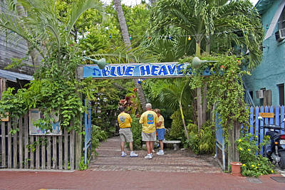 Photograph - Blue Heaven Key West Florida Tropical Cafe Courtyard by John Stephens