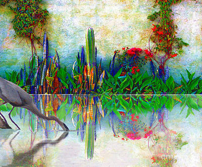 Blue Heron In My Mexican Garden Art Print by John  Kolenberg