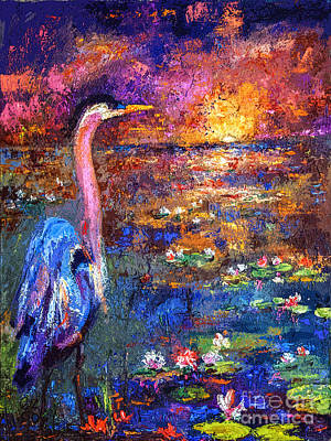 Painting - Blue Heron Sunset by Ginette Callaway