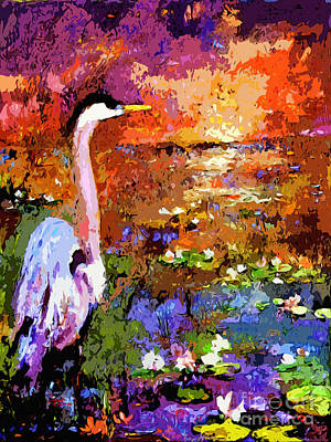 Painting - Blue Heron Sunset Wetland by Ginette Callaway