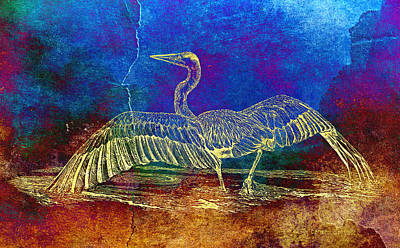 Heron Mixed Media - Blue Heron Textured Color by Carmen Del Valle
