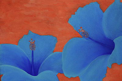 Florida Flowers Painting - Blue Hibiscus by Nick Flavin