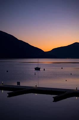 Buoys Photograph - blue hour - Lake Maggiore by Joana Kruse