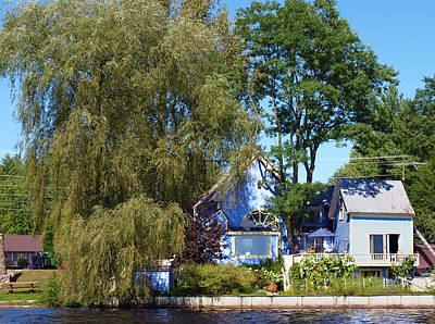 Photograph - Blue House With Willow by Katherine Huck Fernie Howard