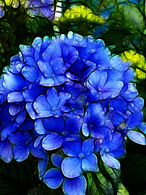 Blue Hydrangea Abstract Art Print by Cindy Wright