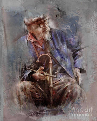 Portrait Study Mixed Media - Blue Jacket by James Robinson