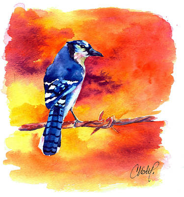 Painting - Blue Jay Bird On A Wire by Christy Freeman Stark