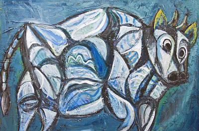 Blue Jeweled Cattle Art Print by Kazuya Akimoto