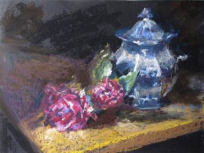Blue Jug With Roses Art Print