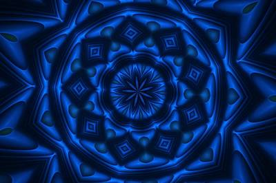 Digital Art - Blue Kaleidoscope by David Lane