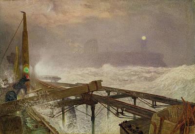 Blue Lights - Teignemouth Pier Art Print by Alfred William Hunt