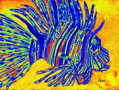 Digital Art - Blue Lion Fish by Susan Kubes