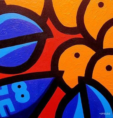 Blue Lobster And Oranges Art Print