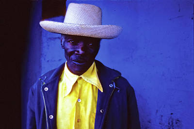 Photograph - Blue Man With Yellow Hat And Shirt by Johnny Sandaire