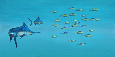 Digital Art - Blue Marlin And Yellowfin Tuna by Walter Colvin