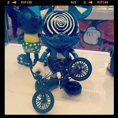Case Photograph - #blue #mickey #mouse #swirl #bicycle by Bryan Thien