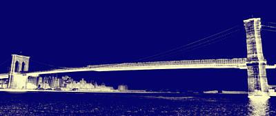 Nyc Digital Art - Blue Mood Brooklyn Bridge by Bill Cannon