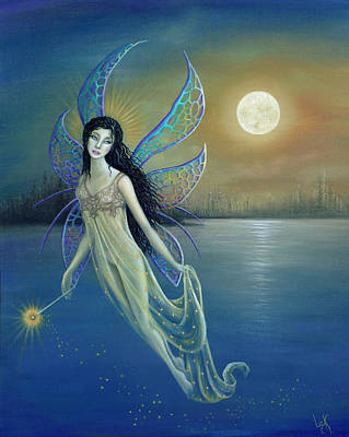 Fairy Painting - Blue Moon Fairy by BK Lusk