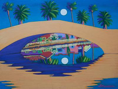 Painting - Blue Moon On Retro Canal by Frank Strasser