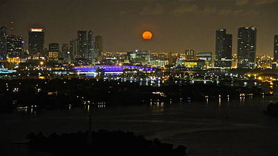 Blue Moon Over Miami Art Print by Ronald  Bell
