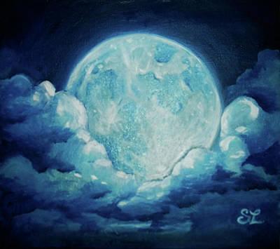 Blue Moon Art Print by Sarah Lonthier
