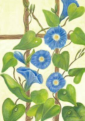 Painting - Blue Morning Glories by Jeanne Kay Juhos